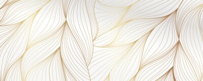 Plakat Gold abstract line arts background vector. Luxury wall paper design for prints, wall arts and home decoration, cover and packaging design.