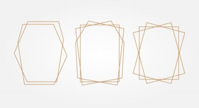 Plakat Gold geometry. Frames for text. Wedding invitation. Square.