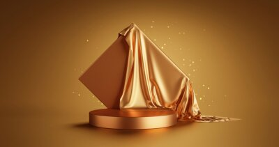 Plakat Gold luxury product display or elegance podium pedestal on abstract golden cloth background with presentation backdrops stage showcase. 3D rendering.