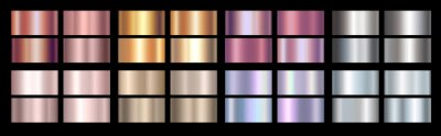 Plakat Gold rose, silver, holographic, bronze, copper and golden foil texture gradation background set. Vector shiny hologram and metalic gradient collection for border, frame, ribbon, label design