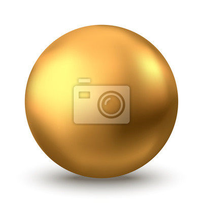 Plakat Gold sphere or oil bubble isolated on white background.