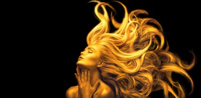 Plakat Gold Woman. Beauty fashion model girl with Golden make up, Long hair on black background. Gold glowing skin and fluttering hair. Metallic, glance Fashion art portrait, Hairstyle. Fashion art design