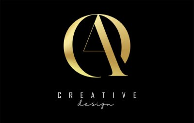 Plakat Golden AO a o letter design logo logotype concept with serif font and elegant style. Vector illustration icon with letters A and O.