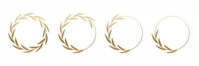Plakat Golden laurel wreath round frame set. Rings with gold leaves, circle award logo or emblem vector illustration. Roman circular badge for anniversary, wedding, award isolated on white background