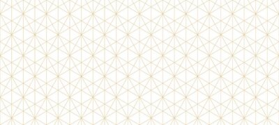 Plakat Golden lines pattern. Vector geometric seamless texture with delicate grid, thin lines, hexagons, triangles, diamonds. Abstract white and gold background. Art deco style ornament. Repeat geo design