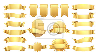 Plakat Golden ribbons. Shiny old labels, wave banner elements, promotion retro decoration, yellow price sale. Realistic vector gold ribbon set