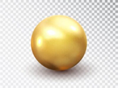 Plakat Golden sphere isolated on transparent background. Golden glossy 3D ball with glares. Round shape, geometric simple, figure circle. Vector 3d metal sphere, shiny capsule ball icon.
