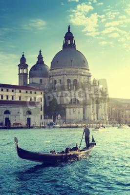 Plakat Gondola i Bazylika Santa Maria della Salute, Wenecja, Włochy