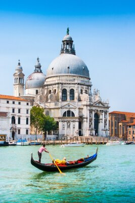 Plakat Gondola na Canal Grande z Santa Maria della Salute w Wenecji