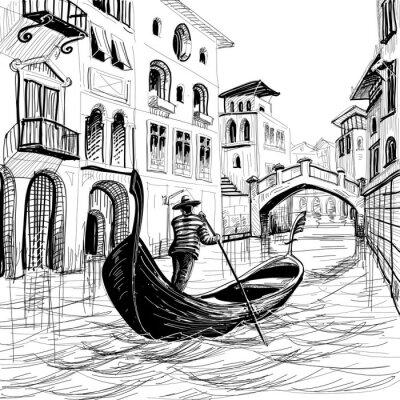Plakat Gondola w Wenecji szkic wektor