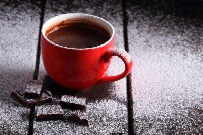Plakat Gorąca czekolada i wyroby czekoladowe kawałki.