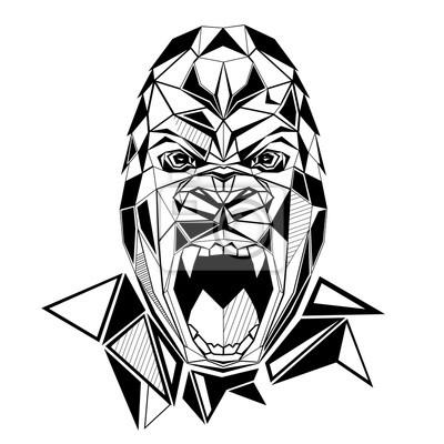 Gorilla stylizowany trójkątny model