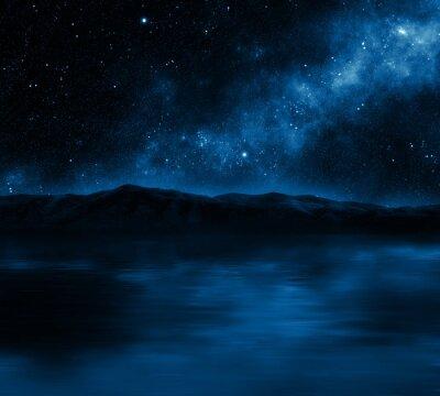 Plakat Górskie jezioro z gwiazdami
