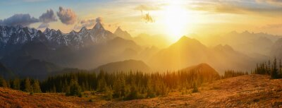 Plakat Góry zachód słońca