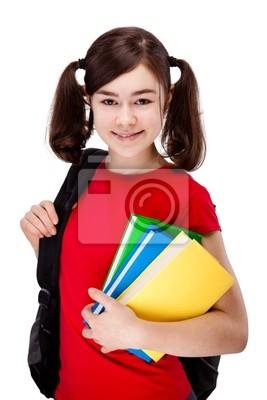 Plakat Gospodarstwa książek dziewczyna na białym tle