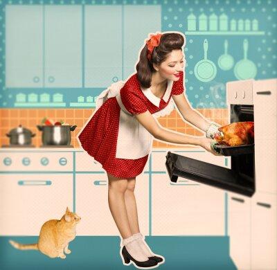 Plakat gospodyni gotowanie w kuchni plakat oven.Retro