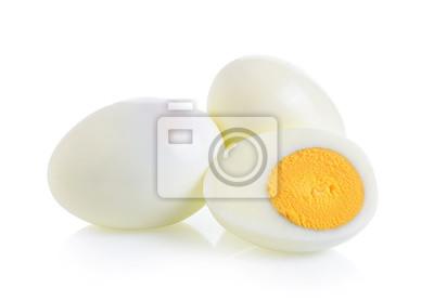 Plakat gotowane jajko na białym tle