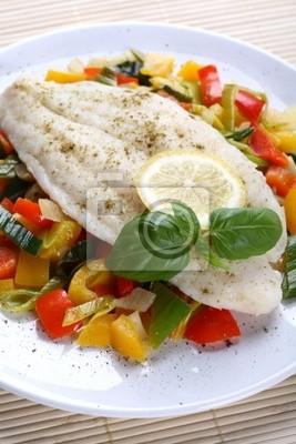 Plakat Gotowane ryby i warzywa