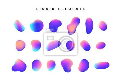 Plakat Gradientowe kształty opalizujące. Zestaw pojedynczych elementów płynnych z holograficznej kameleonowej palety z połyskującymi kolorami. Nowoczesny abstrakcyjny wzór, jasny kolorowy płyn rozchlapać far