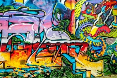 Plakat graffiti aux couleurs Vives sur Murs i gouttières