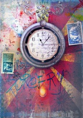 Plakat Graffiti i mozaiką w tle z cyklu zegara