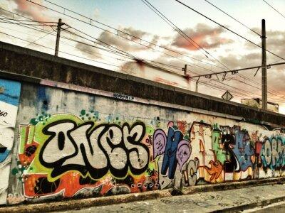 Plakat graffiti ścianie