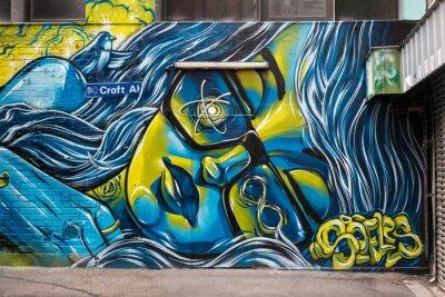 Plakat Graffiti w Croft Alley, Melbourne