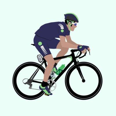 Plakat Grafika Deep-Niebieski Zielony ilustracji kolarzem