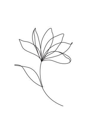 Plakat Grafika liniowa kwiatu lotosu. Minimalistyczna ikona, logo, etykieta