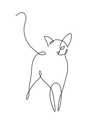 Plakat Grafika liniowa minimalistyczne koty