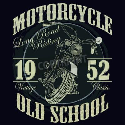 Plakat Grafiki Typografia Motocyklowe. Stary motocykl szkolny. T-shirt Design, ilustracji wektorowych