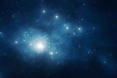Plakat Granatowy nocne niebo pełne gwiazd i pyłu kosmicznego