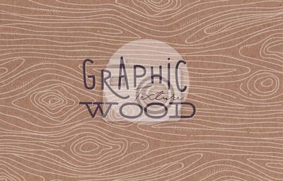 Plakat Graphic tekstury drewna brązowy