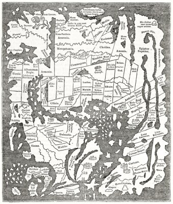 Plakat Graytone reproduction of an antiique Anglo-Saxon map of the Tenth century. Ancient engraving style art by unidentified author, The Penny Magazine, London 1837