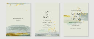 Plakat Green emerald and gold texture watercolor wedding invitation vector set. Luxury background and template layout design for invite card, luxury invitation card and cover template.