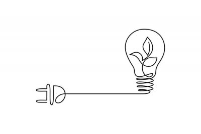 Plakat Green energy icon in continuous line art drawing style. Plant inside light bulb with power plug as a symbol of environmental friendly sources of energy black linear design isolated on white background