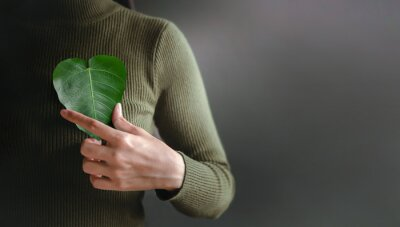 Plakat Green Energy, Renewable and Sustainable Resources. Environmental and Ecology Care Concept. Close up of Hand Holding a Heart Shape Green Leaf on Chest