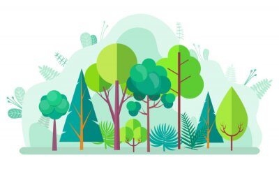 Plakat Green forest with tree and bushes, firs and birches, pines and oaks on blurred background of green plants. Vector landscape with wood design elements