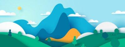 Plakat Green nature landscape scenery banner background paper art style.Vector illustration.