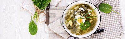 Green soup of sorrel in white bowl. Banner. Top view