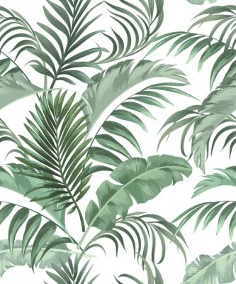 Plakat Green tropical palm leaves seamless vector pattern on the black background.Trendy summer print.