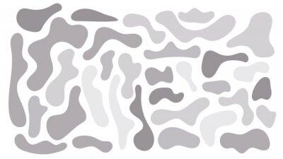 Plakat Grey irregular blob, set of abstract organic shapes. Abstract irregular random blobs. Simple liquid amorphous splodge. Trendy minimal designs for presentations, banners, posters and flyers.