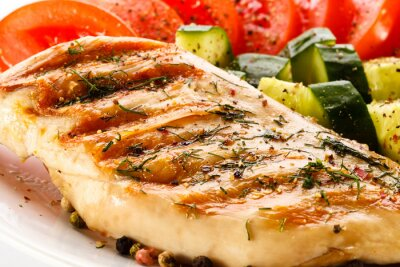 Plakat Grillowana pierś z kurczaka i warzyw