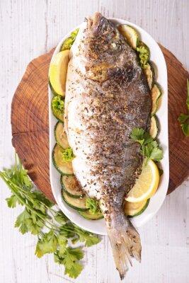 Plakat grillowane ryby i warzywa