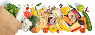 Plakat Grocery shopping concept - meat, fish, fruits and vegetables with shopping bag, top view