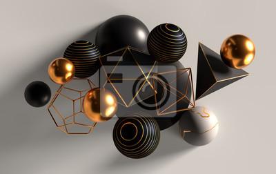 Plakat Grono abstrakcjonistyczne sfery, bryły, złoto, biel i czerń, 3d odpłaca się