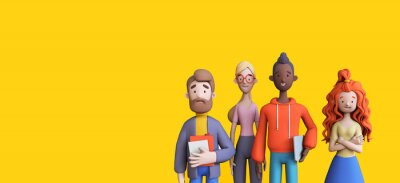 Plakat Group of diverse business people on a yellow background template. Business teamwork concept. Trendy 3d illustration