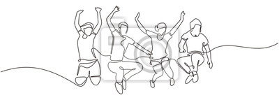 Plakat Group of people jump looks happy and enjoying their life continuous one line drawing minimalism design. Vector illustration simplicity conceptual metaphor design.