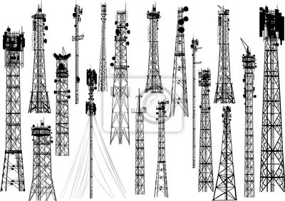 Plakat group with eighting antenna towers on white