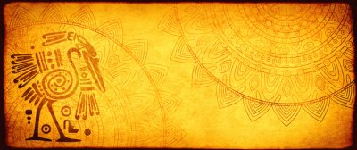 Plakat Grunge background with American Indian traditional patterns